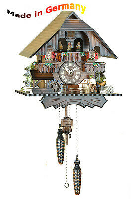 Quartz Cuckoo Clock, Black Forest, Mobile Figures & 12 Melodies, Made in Germany