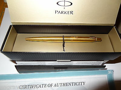 New Genuine 24k gold plated Parker BLACK ink ball Pen & giftbox & Free Engraving