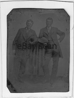 ANTIQUE TINTYPE #7 Affectionate Young Men Vintage Ferrotype Gay Interest Formal