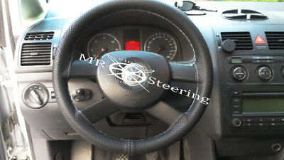 For Vw Touran 1 2003+ Perforated Leather Steering Wheel Cover Grey Double Stitch