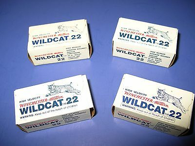 4 Boxes Vintage Winchester Wildcat 22 Long Rifle Shell Boxes Western Great Cond.