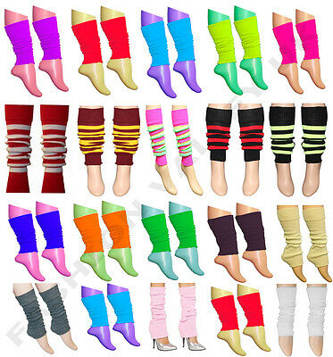 Girls Teen 80's Dance Wear Plain Ribbed Leg Warmers Legwarmer Fancy Dress Tutu