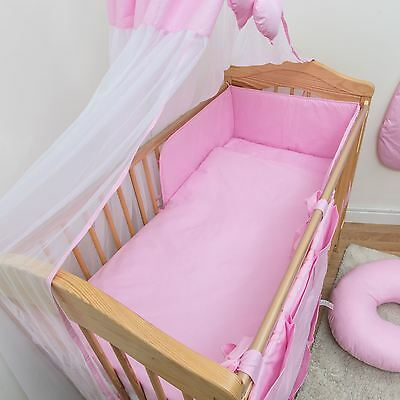 5 Piece Nursery Bedding Set with Bumper to fit 140x70 cm Cot Bed - Plain Pink