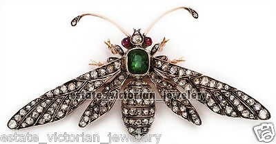 Vintage Estate 3.73cts Rose Cut Diamond Ruby Emerald Silver Jewelry Bee Brooch