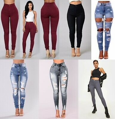 Womens Ladies Girls High Waisted Extreme Ripped Blue Skinny Jeans Size 6 To 16