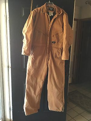 Walls Work Wear Men's Canvas Zip Overalls Quilted Lined   Size Large 42-44