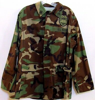 US Navy Police Camouflage Button Front Jacket Long Sleeve XL Short 20R Military