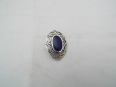 Silver Celtic Brooch With Lapis Blue Stone Markers Mark Cme 925
