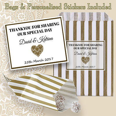 Personalised Wedding Favour Sweet Striped Candy Bags Table Decoration Gift