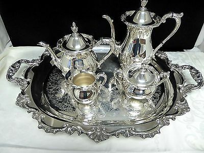 Antique Silver Plate Matching 5 Piece Tea Set by Poole Silver Co. 1898 Exc Cond