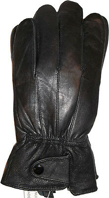 New Men's leather Gloves, Black Button up winter Gloves lined warm Gloves BNWT+*