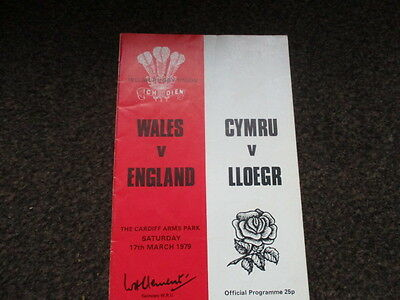 WALES v ENGLAND  17-3-1979 RUGBY UNION PROGRAMME CARDIFF