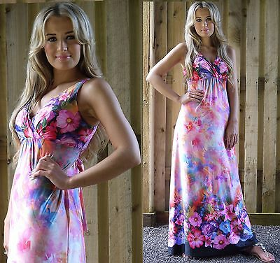Summer Holiday Resort Maxi Dress Wedding Party Pink White Maternity Wear MontyQ