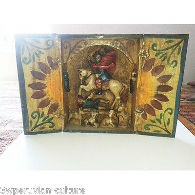 Peruvian Altarpiece from Diego de Almagro painted in wood