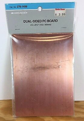 "Archer Dual-Sided PC Board 276-1499 Copper PC Board 4.5""x6.333"" Radio Shack 6A2"