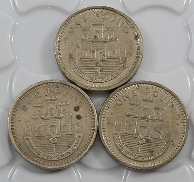 Gibraltar 1988 & 1991 £1 One Pound 3 Coin Lot C0121