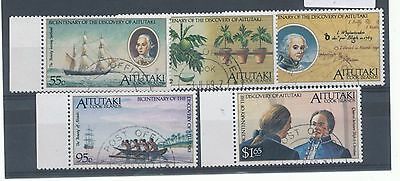 Aitutaki 1989 Bicent of Discovery of Aitutaki by Capt. Bligh set of 5 used