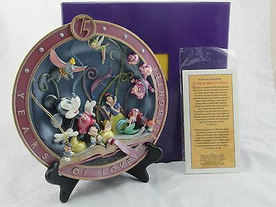 Disney 75 Years of Love & Laughter Collector Relief Plate. in Box, Stand, COA