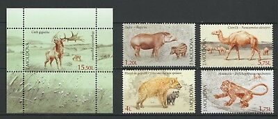Moldova 2016 Fauna Extinct Animals of Moldova 4 MNH Stamps + Block