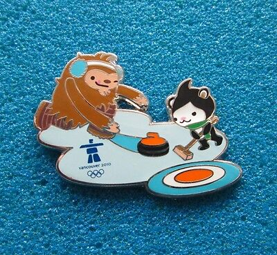 Mascots + Curling Vancouver 2010 Olympic Paralympic Winter Games  Pin # Ol- 177