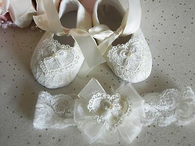 Baby Girls Reborn Ivory Lace Heart Christening Shoes Headband Set 0 - 12 mths