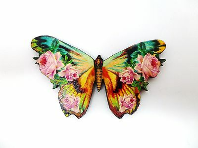 Beautiful Vintage Wooden Pale Pink Rose Flowers Butterfly Brooch Pin Whimsical