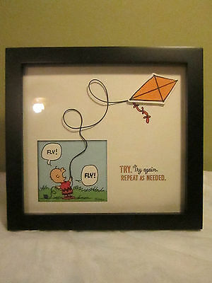 "Hallmark Peanuts Framed Comic Strip Charlie Brown w Kite  ""Try  Repeat""  ca 2012"