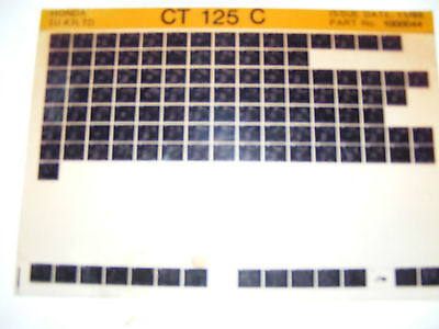 Honda Ct125C  Part List  (Microfiche) Free Post In Uk Only
