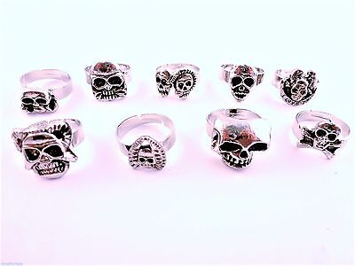 Goth Style Antiqued Silver tone adjustable ring