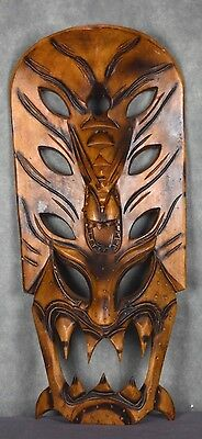 Carved Wood Dragon Demon Wall Mask From Philippines Devil Vintage