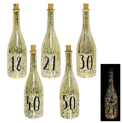 Gold Crackle Glaze Battery Light Up Bottle with Number - Birthday Gift