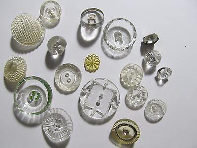 NICE Lot of VINTAGE CRYSTAL CLEAR BUTTONS ~ Glass LUCITE Celluloid Large diamond