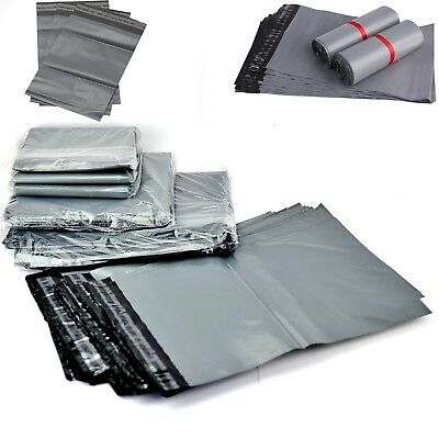 """50 Strong Grey Plastic Poly Mailing Bags 10""""x 14""""  Post Postal Envelopes"""