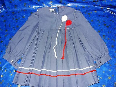 Vintage Charlianne Children wear dress age 3 years grey pleated with balloons