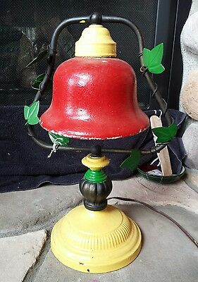 Vintage Cast Iron Painted Electric Bell Lamp Kitschy Metal Light
