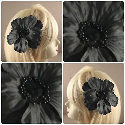 BLACK FABRIC POPPY FLOWER ON A FORKED BEAK CLIP WITH BROOCH PIN