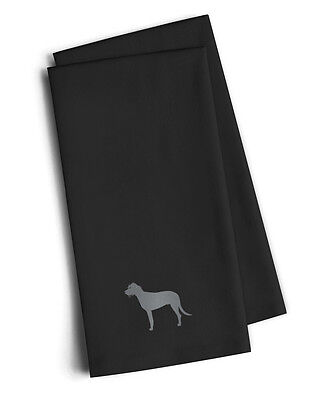 Irish Wolfhound Black Embroidered Kitchen Towel Set of 2