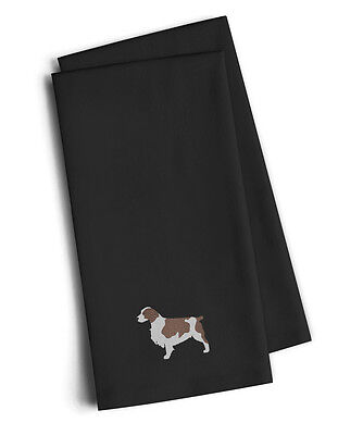 Welsh Springer Spaniel Black Embroidered Kitchen Towel Set of 2