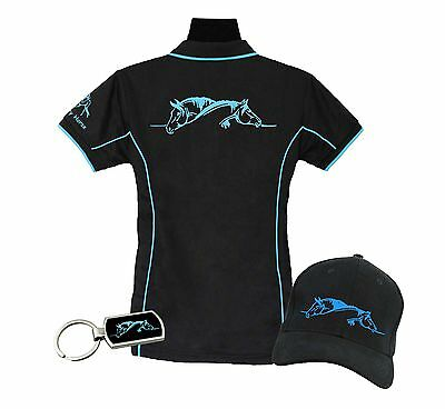 Horse Polo Shirt Gift Pack Polo, Cap & Key Ring Two Horses Grooming Brand New
