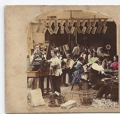 Stereoview Genre INTERIOR OF STEREOGRAPHIC MANUFACTORY London Paris ca. 1860
