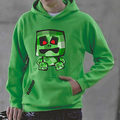 Kids keep on creepin' hoodie, make it mine, craft your own name , lime green.