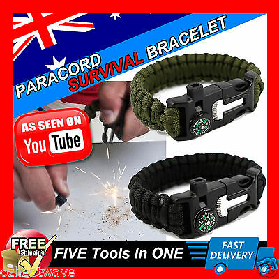 Survival Paracord Bracelet Flint Fire Starter Whistle Compass 5in1 Gear Tool Kit