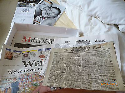 The Times Millennium Gift Box, all papers 1.1.00, book of 1900s & 2 more papers