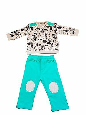 baby boys grey top and green bottoms with grey knee patch set 0 - 24 months