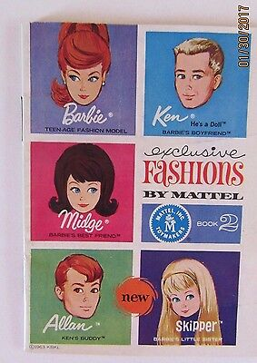 Vtg Barbie Ken Fashion Doll Booklet Book 2 1963 Mini Catalog FREE SHIPPING
