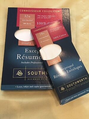 SOUTHWORTH EXCEPTIONAL RESUME Paper & Envelopes  100% COTTON Ivory.