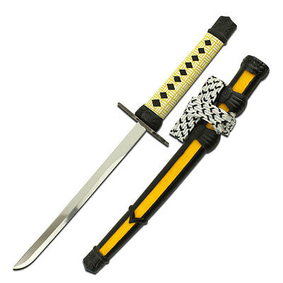 Yellow Samurai Sword Knife Letter Opener With Stand