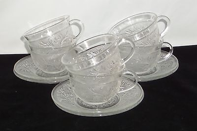 6 Anchor Hocking SANDWICH CRYSTAL *CUPS & SAUCERS*