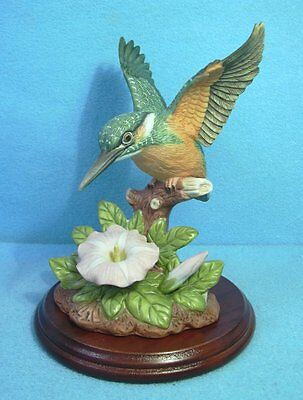 A Porcelain Hand painted  KINGFISHER & Wooden base