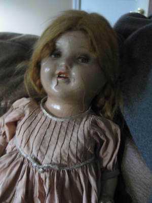 "Antique 24"" Scary Open Close Eye Doll  Cloth and wood Body patchy synthetic Hair"